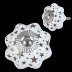 Brown & White Ceramic Flower Doorknob Drawer Knob Cabinet Pull w Stars